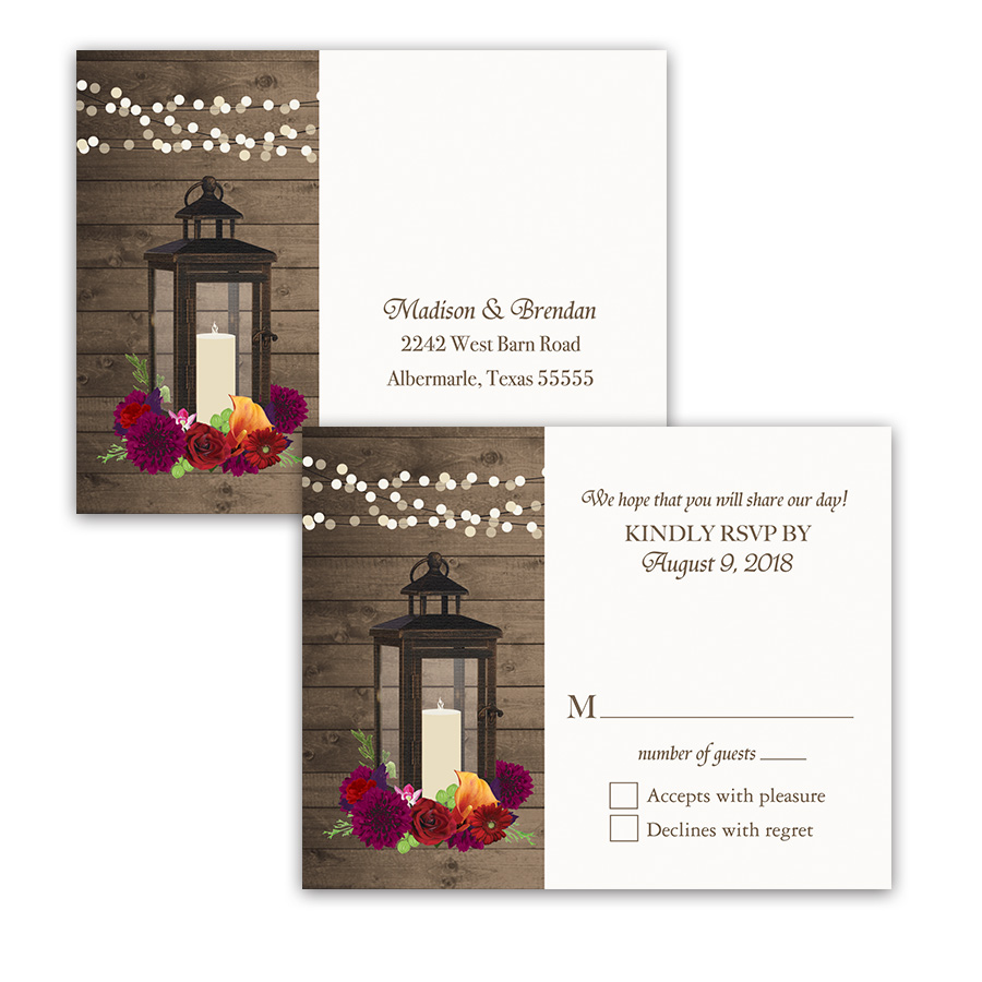 Fall Wedding RSVP Postcards Lantern Plum Florals
