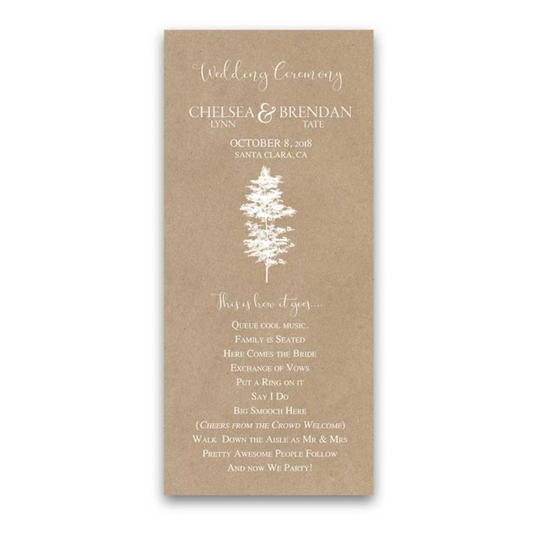 Kraft Wedding Program Handwritten Script Tree Silhouette