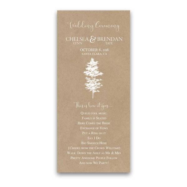Kraft Wedding Program Handwritten Script Tree Silhouette