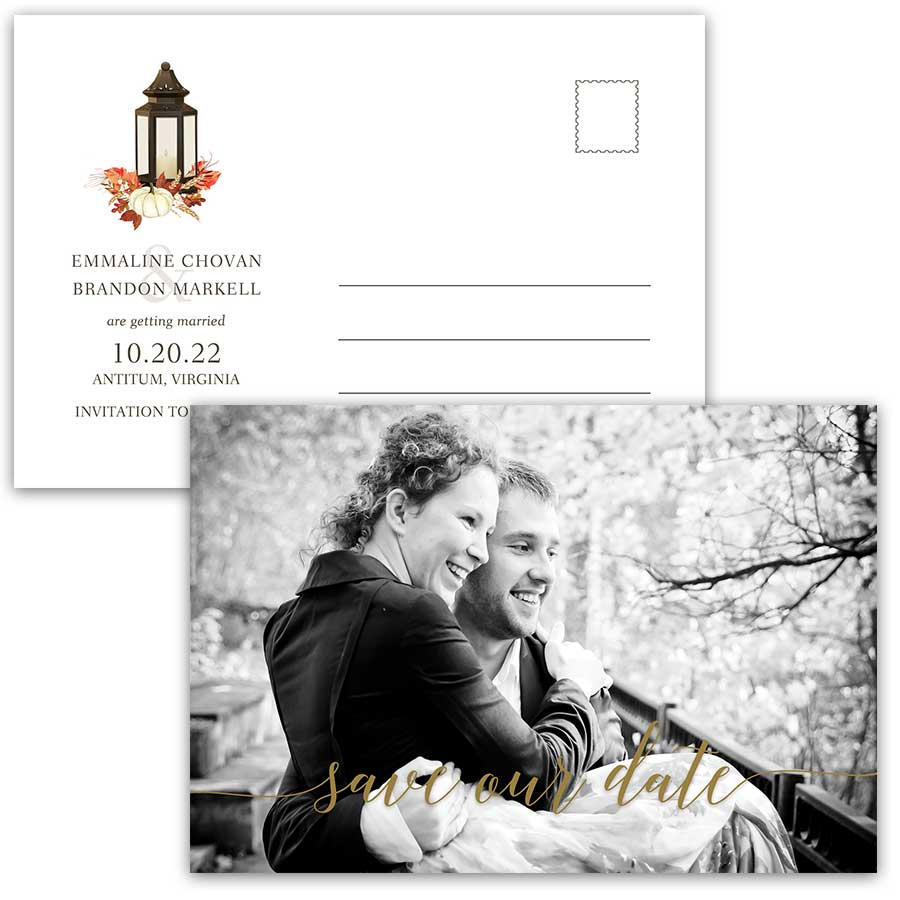 Fall Wedding Postcard Save the Date Lantern Fall Leaves
