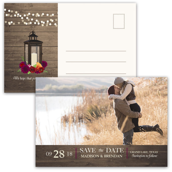 Photo Save the Date Postcard Plum Floral Fall Wedding