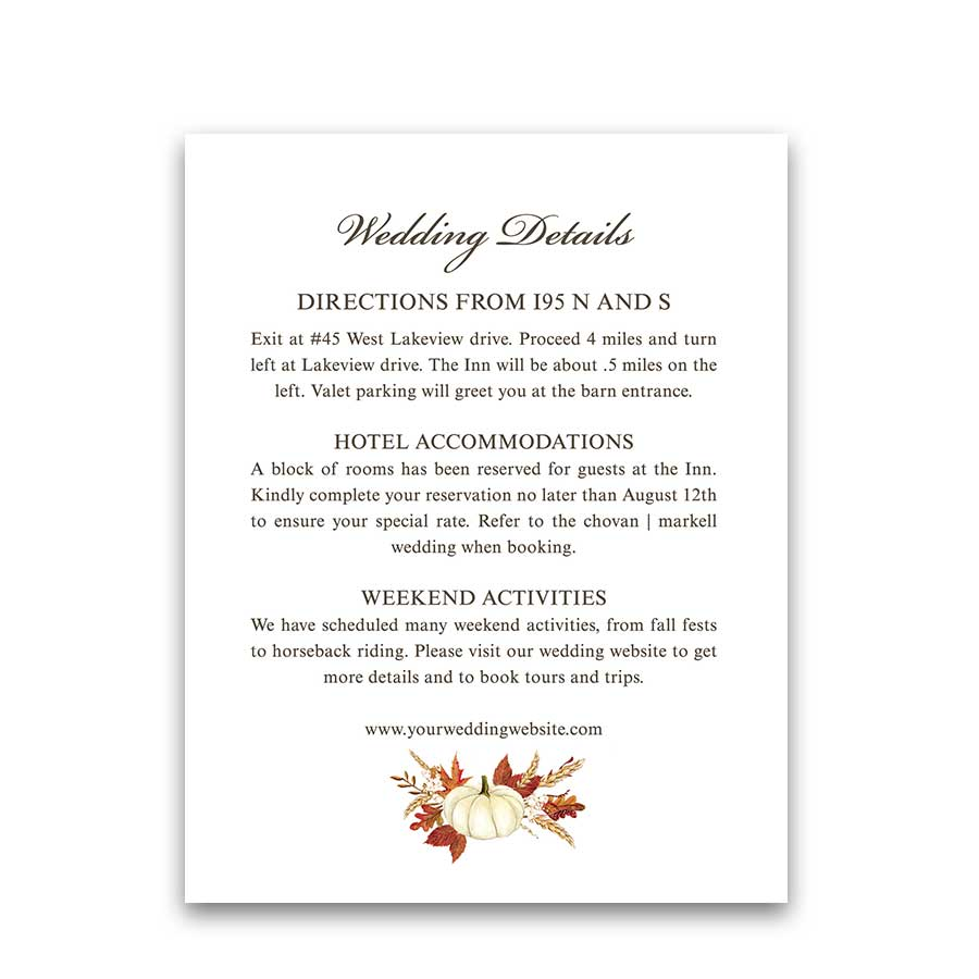 Fall Wedding Detail Cards Autumn Wedding Insert