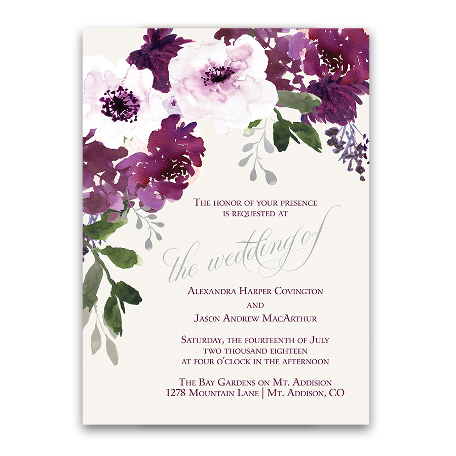 Plum Floral Wedding Invitations Watercolor Greenery Purple