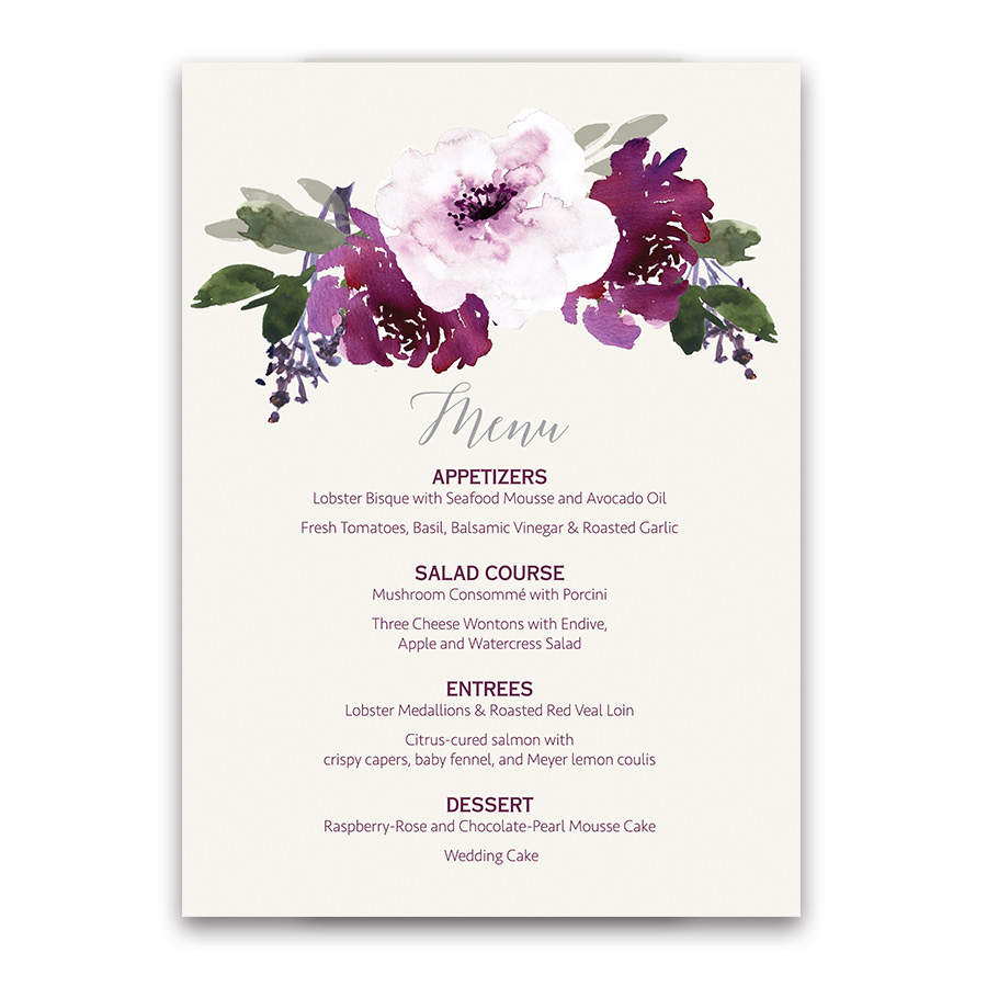 Custom Wedding Menu Design Purple Floral Watercolor