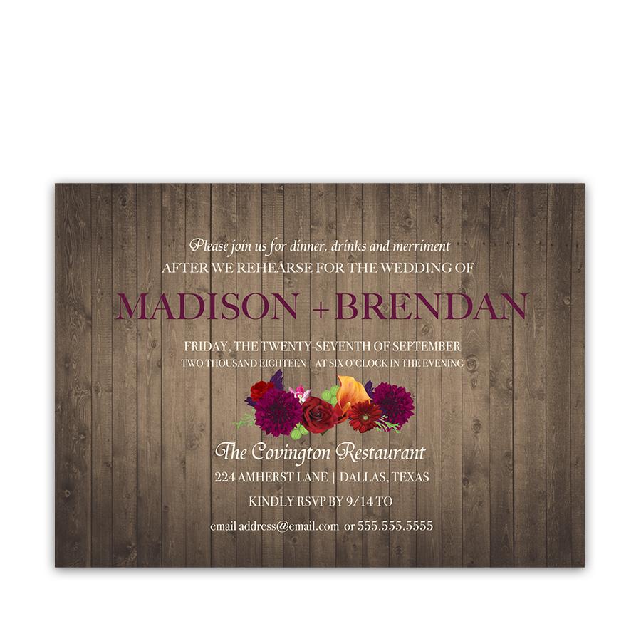 Plum Floral Rustic Wedding Rehearsal Invitations