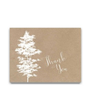 Kraft Script Wedding Thank You Cards Tree Silhouette