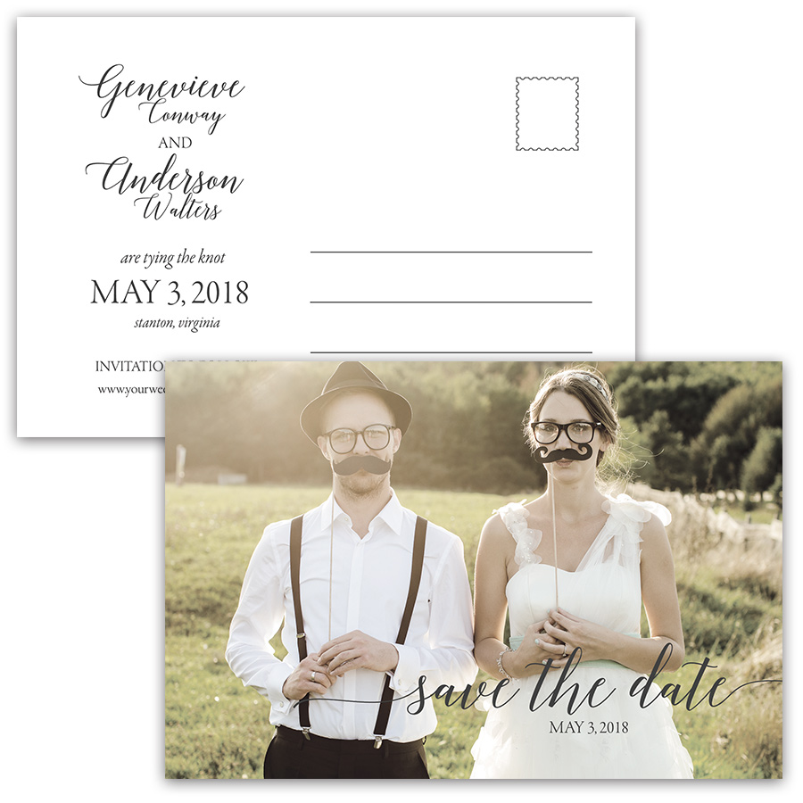 Script Handwriting Modern Photo Save the Date Postcards