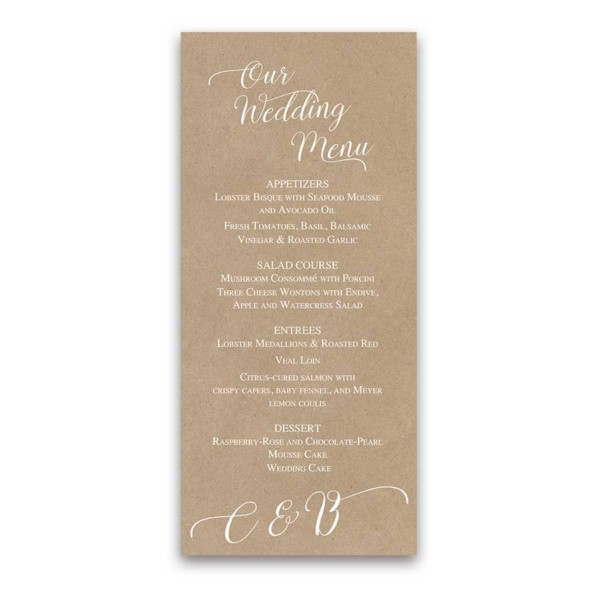 Kraft Wedding Menu Script Handwriting Modern Design