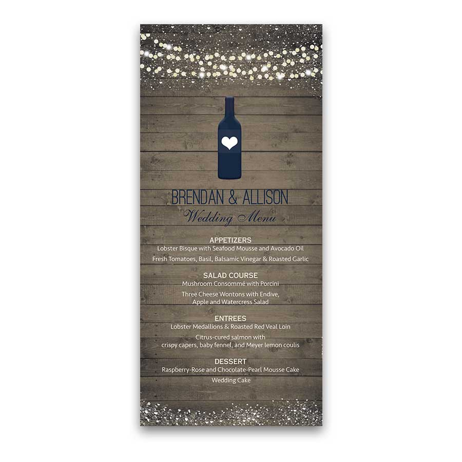 Vineyard Wedding Ideas Menu with Wine Bottle Rustic Wood