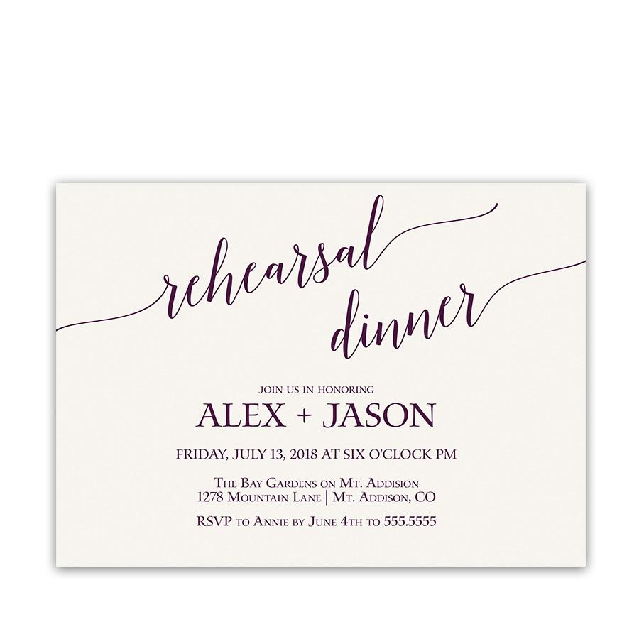 Purple Script Handwriting Wedding Rehearsal Invitations