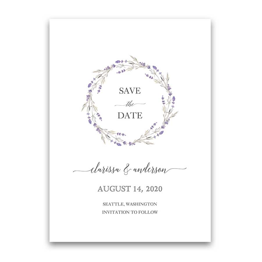 Wedding Save the Date Cards Purple Lavender Wreath