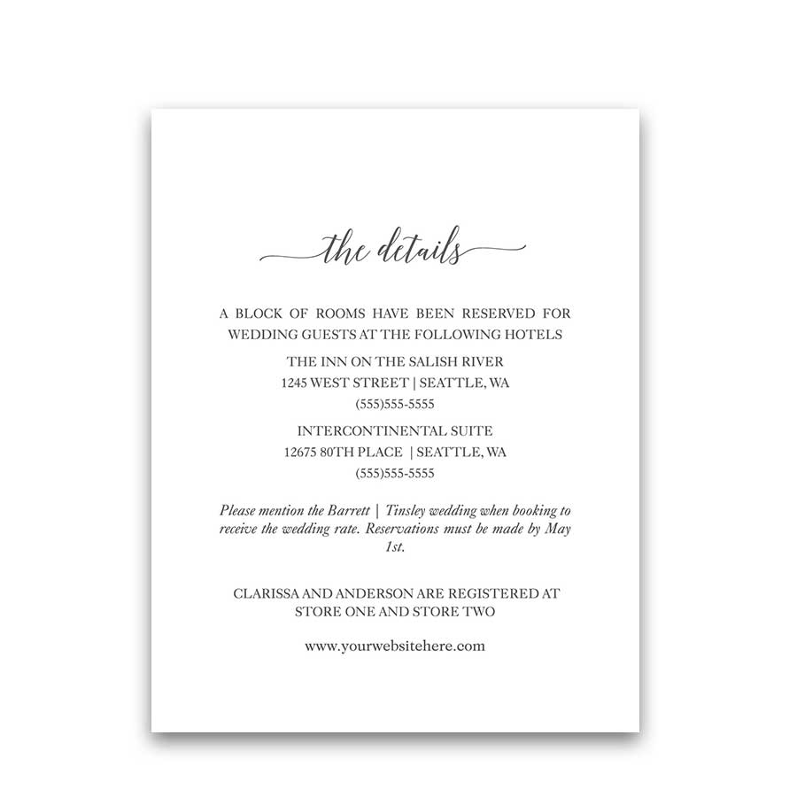 Wedding Guest Information Insert Cards Lavender Suite Design