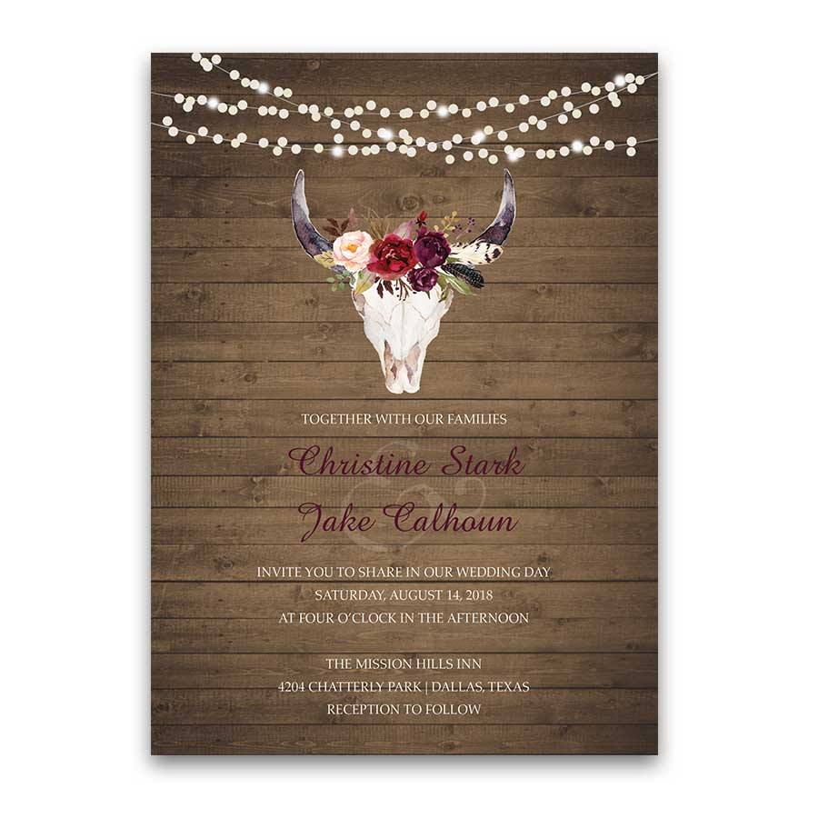 Wedding Invitations Floral Deer Skull Antler Burgundy