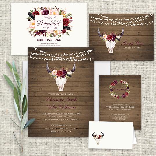 wedding invitations floral deer skull antler burgundy - Deer Wedding Invitations