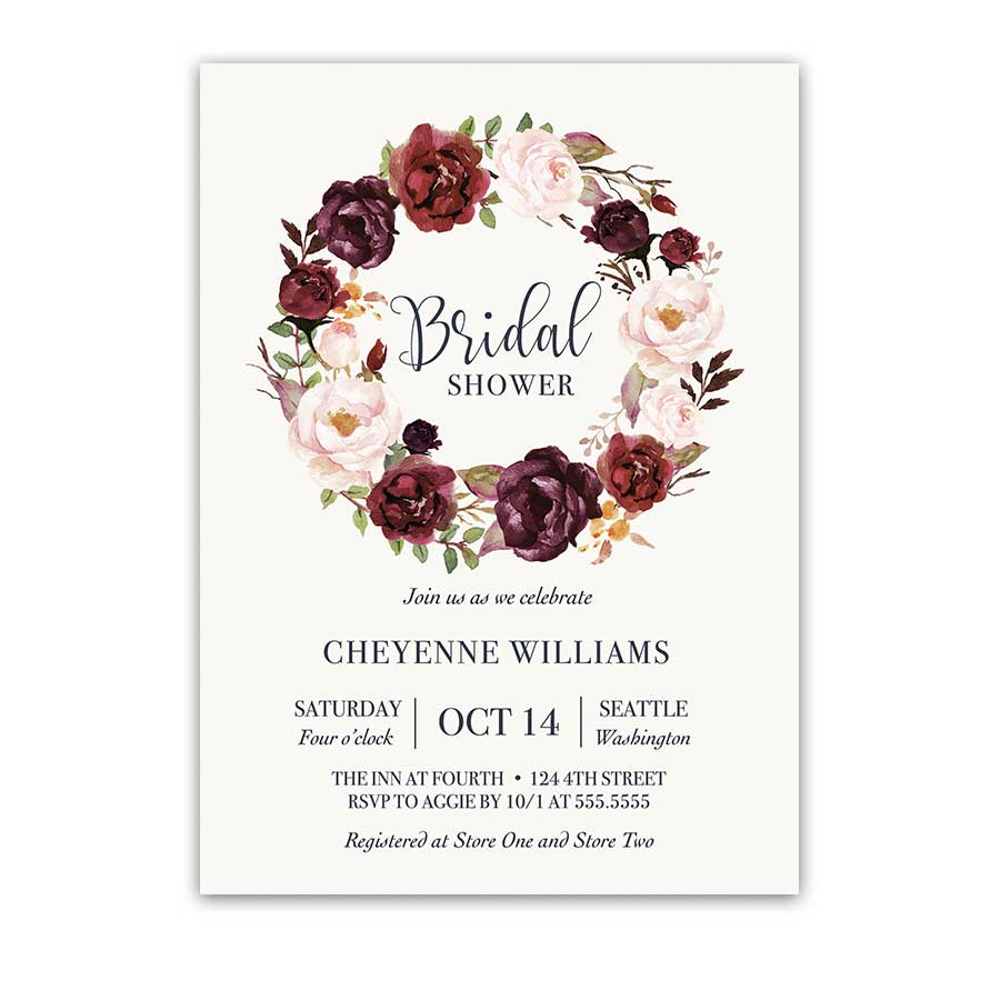 Burgundy Floral Bridal Shower Invitation Watercolor Wreath