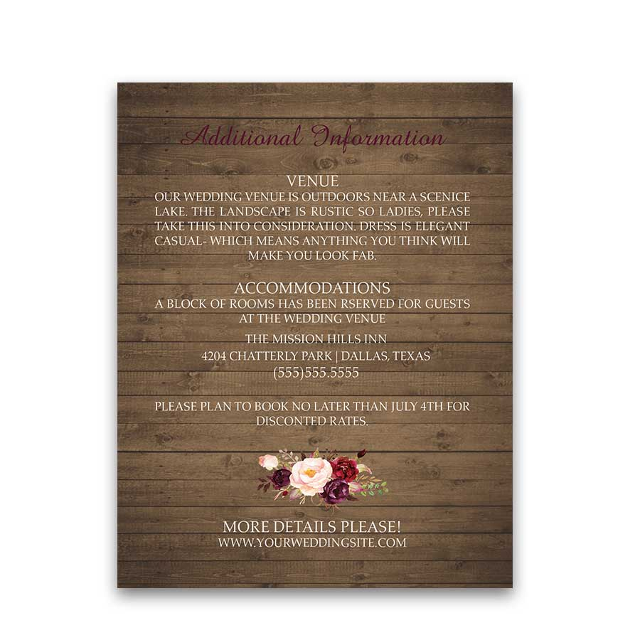 Wedding Information Cards Boho Watercolor Florals