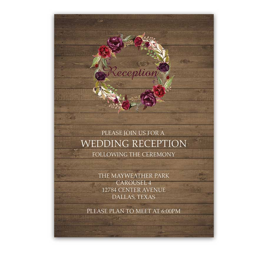 Wedding Reception Cards Watercolor Floral Wreath