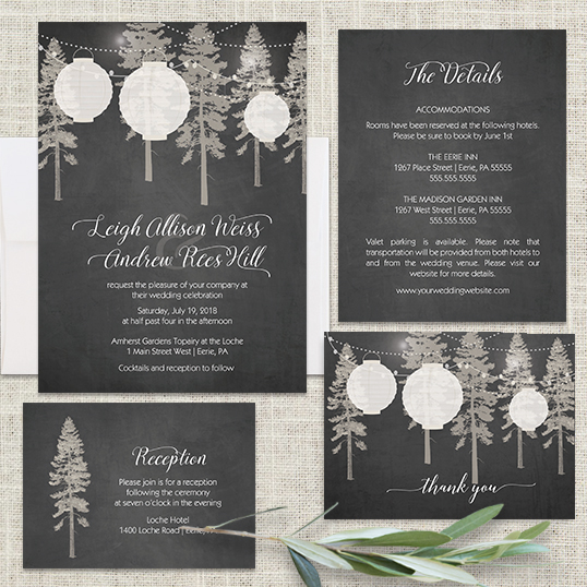 paper lantern wedding invitations on chalkboard - Lantern Wedding Invitations