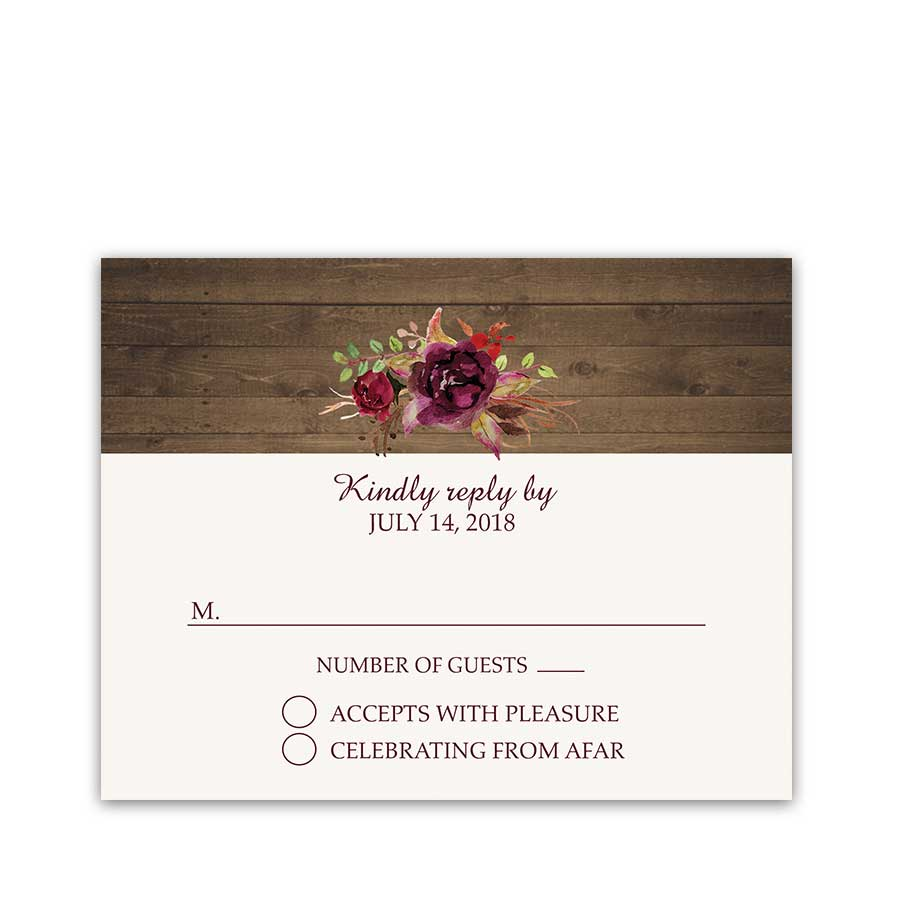 Wedding RSVP Cards Floral Watercolor Wine Burgundy
