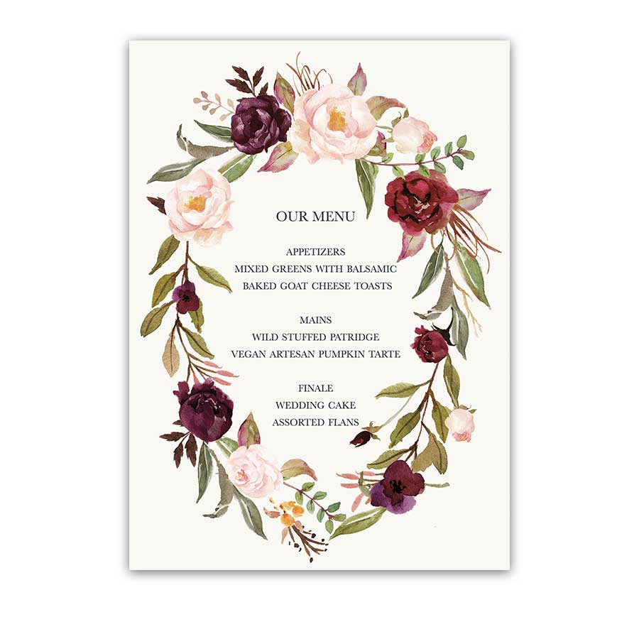 Floral Wreath Wedding Menu Blush Burgundy Wine