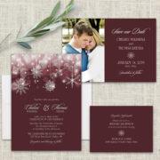 Snowflake Winter Wedding Invitations Burgundy