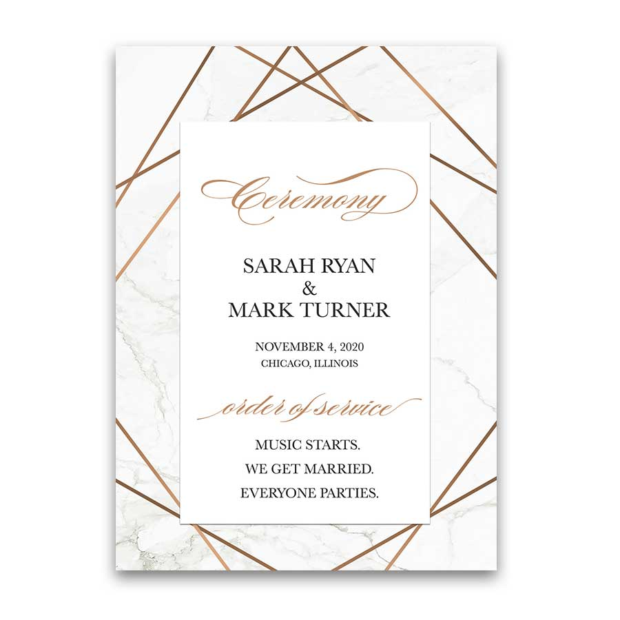 Geometric Frame Wedding Programs Marble Inlay Rose Gold