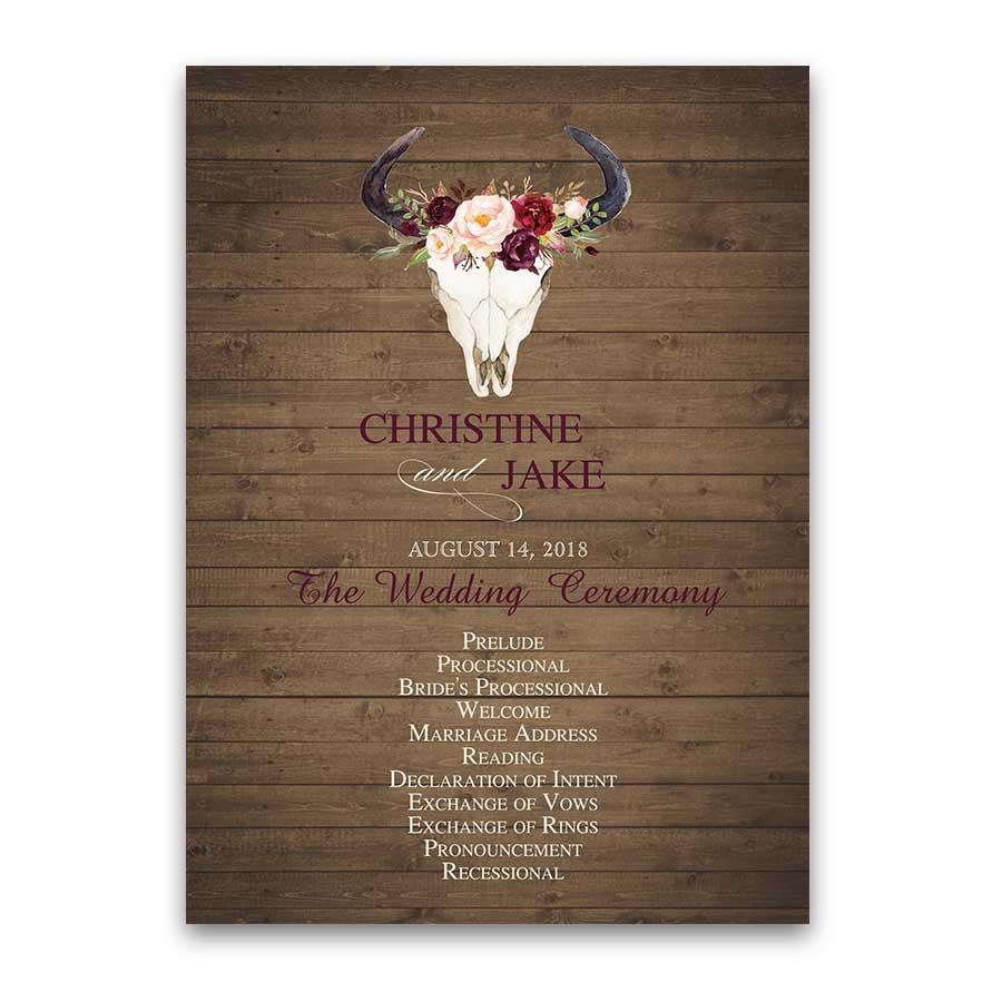 Floral Wedding Program Watercolor Deer Skull Antlers