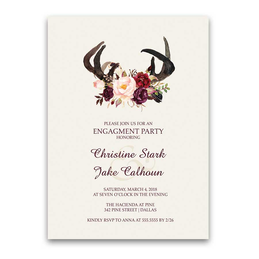 Floral Engagement Party Invitations Deer Skull Antlers
