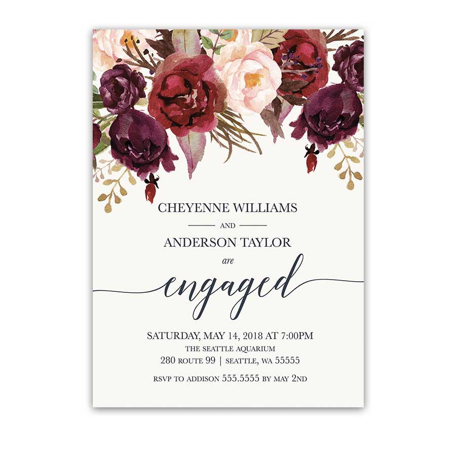 Floral Engagement Party Invitations Burgundy Wine Blush
