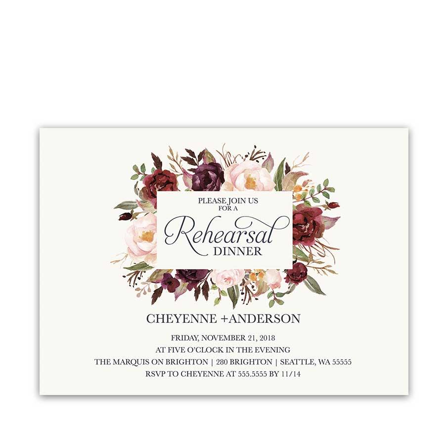 Floral Watercolor Wedding Invitations Burgundy Wine