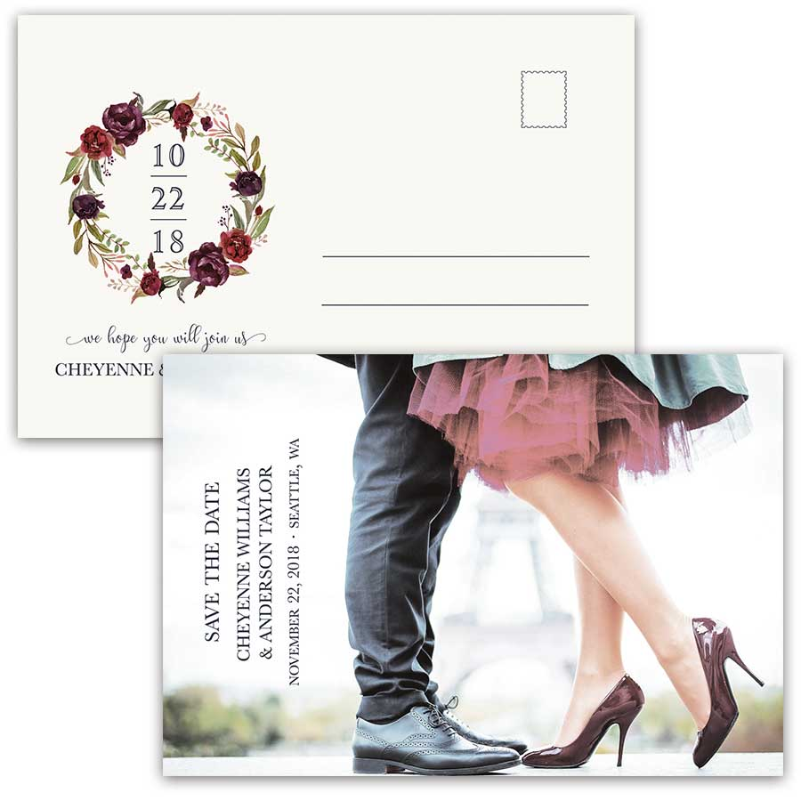 Save the Date Postcards Blush Wine Floral Wreath