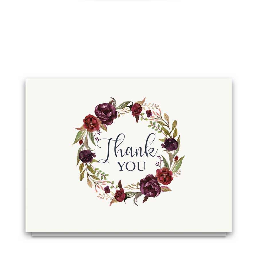 Floral Wreath Wedding Thank You Cards Burgundy Wine