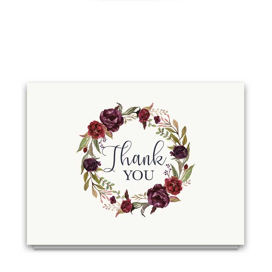 Floral Wreath Wedding Thank You Cards Burgundy Wine