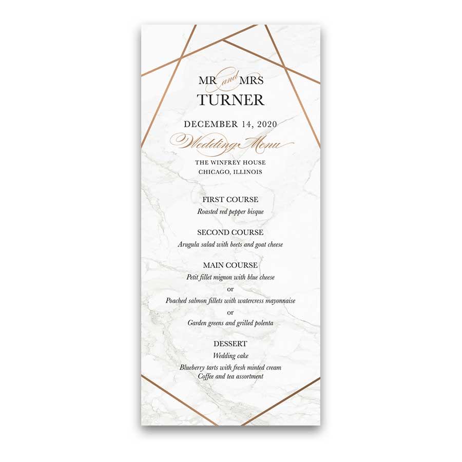 Geometric Frame Wedding Menu Marble Background Template