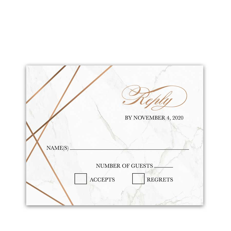 Geometric Frame Wedding Reply Card Marble Background RSVP
