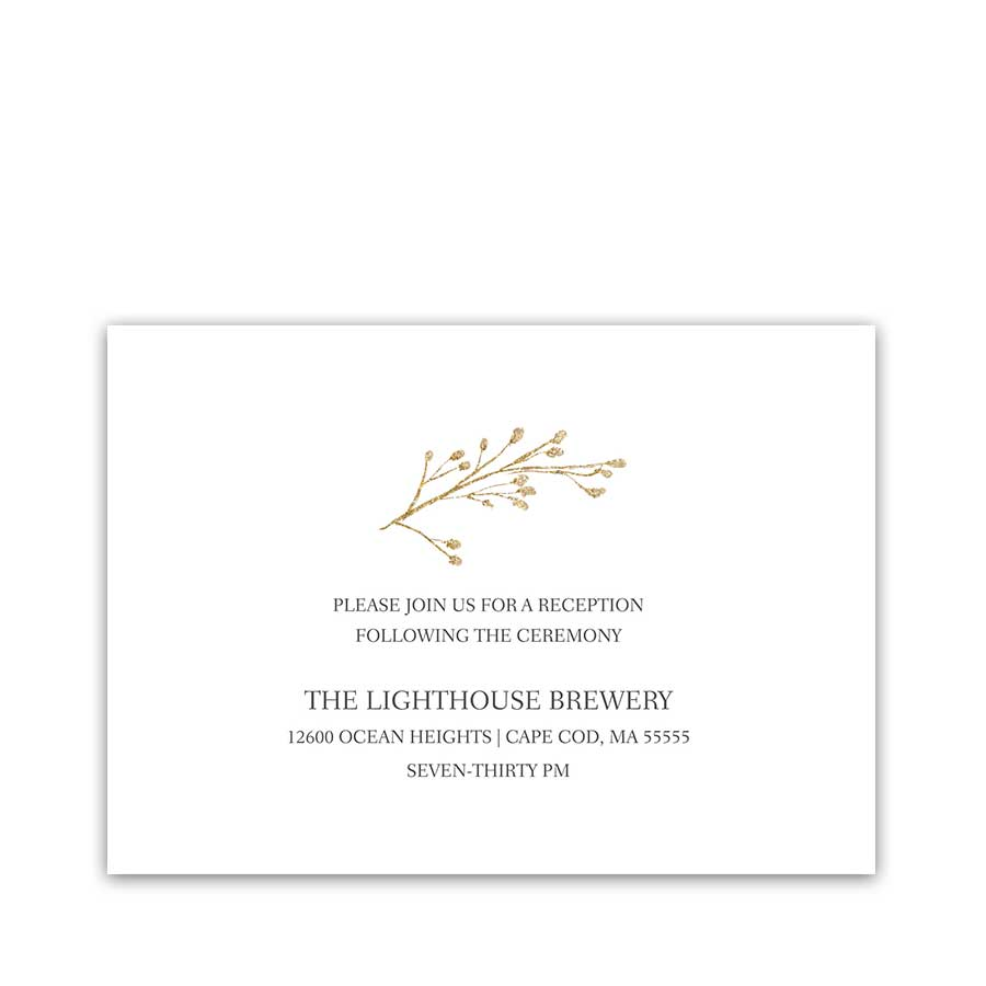 Gold Floral Wedding Reception Information Cards