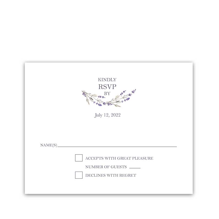 Wedding RSVP Cards Lavender Sprigs Modern Design