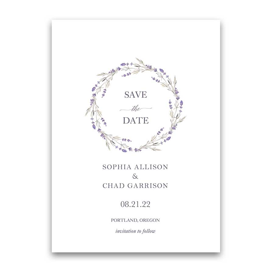 Lavender Save the Date Cards Wedding Lavender Wreath