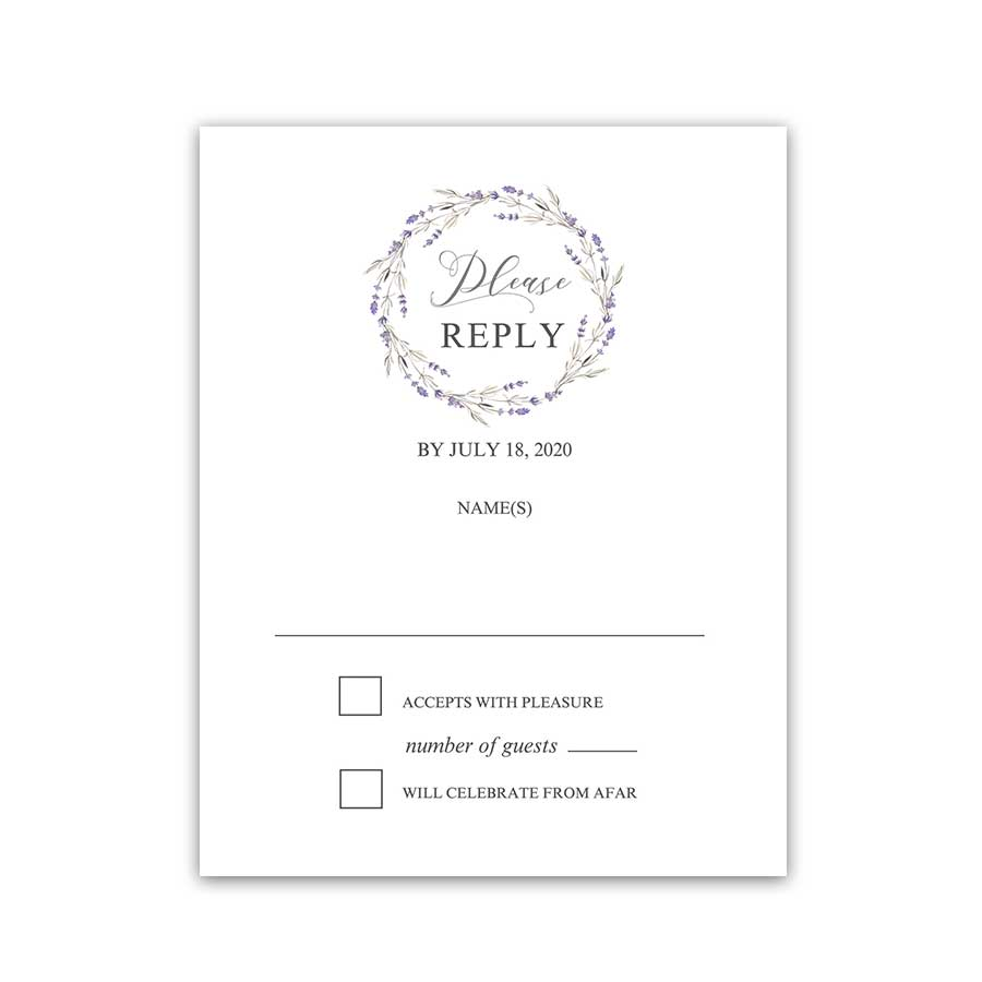 Wedding Response Cards Floral Lavender Design