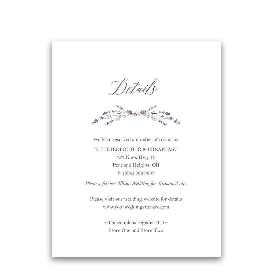 Lavender Wedding Additional Information Insert Cards