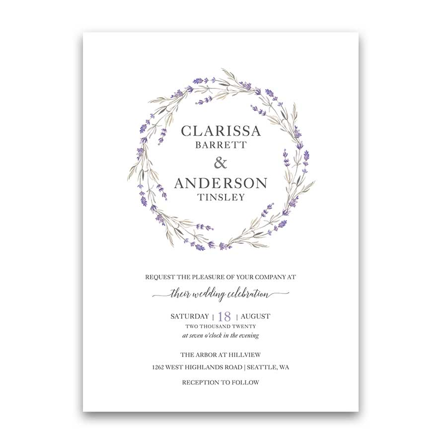 Lavender Wedding Invitations Floral Wreath Lilac Wedding Color