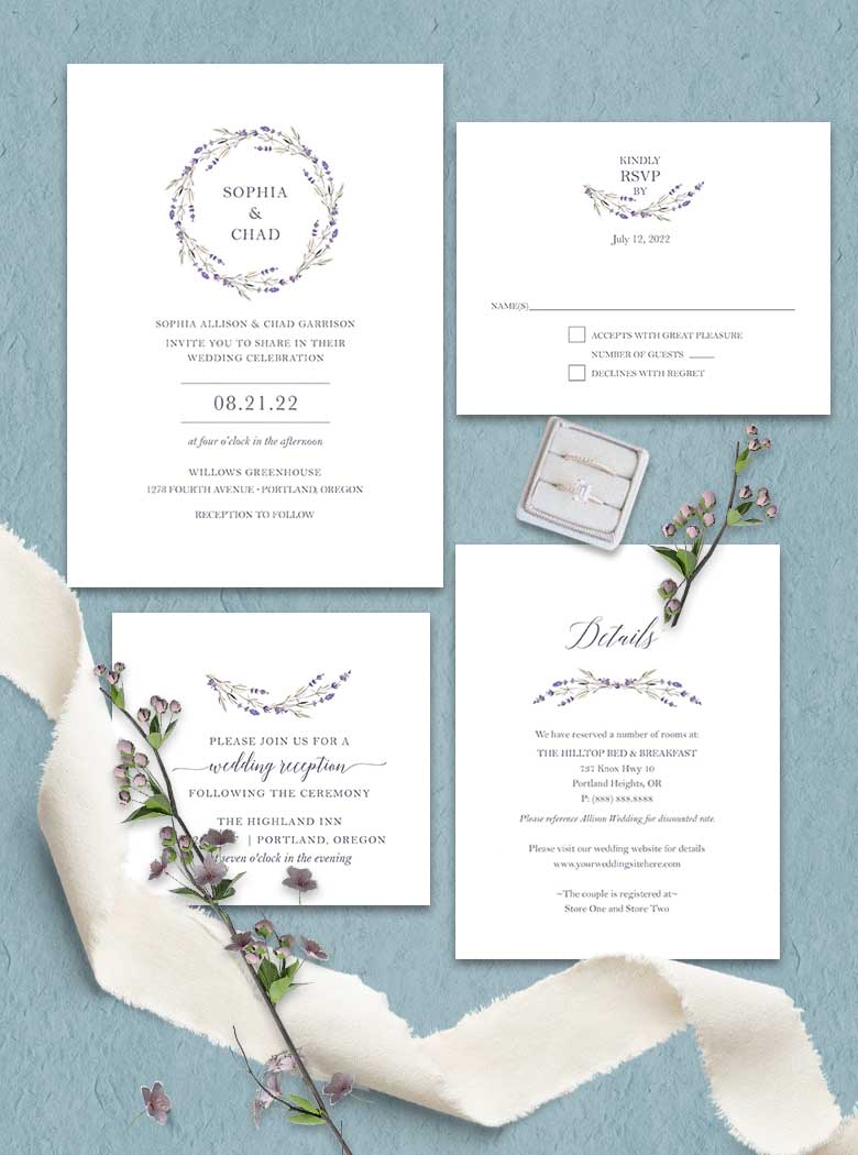 Lavender wedding invitations set