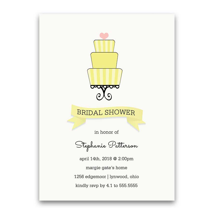 Rustic Wedding Shower Invitations Lemon Yellow Cake