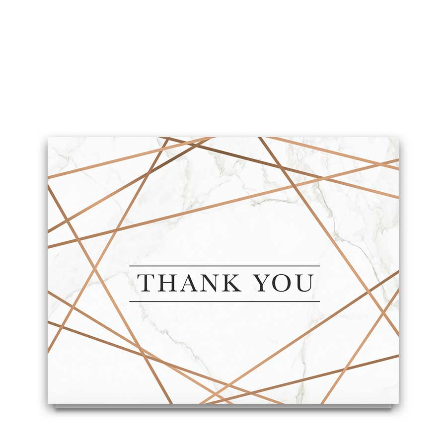 Geometric Frame Wedding Thank You Card Marble Background