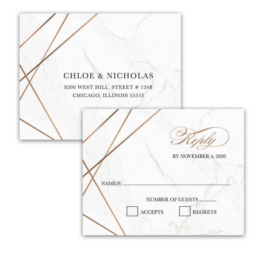 Geometric Frame Wedding RSVP Postcard Marble Background