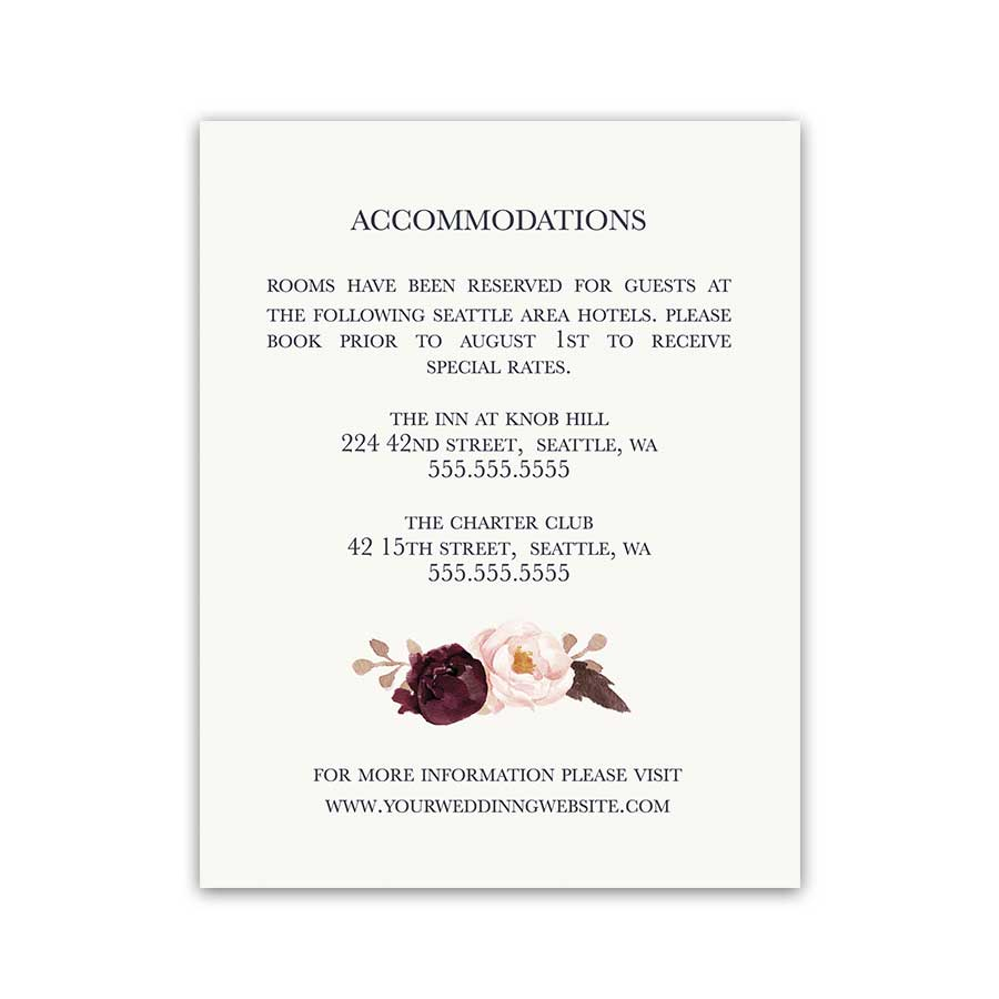 Wedding Guest Information Insert Cards Wine Florals