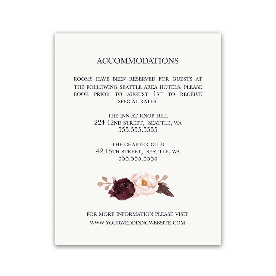 Wedding Guest Information Insert Cards Wine Florals