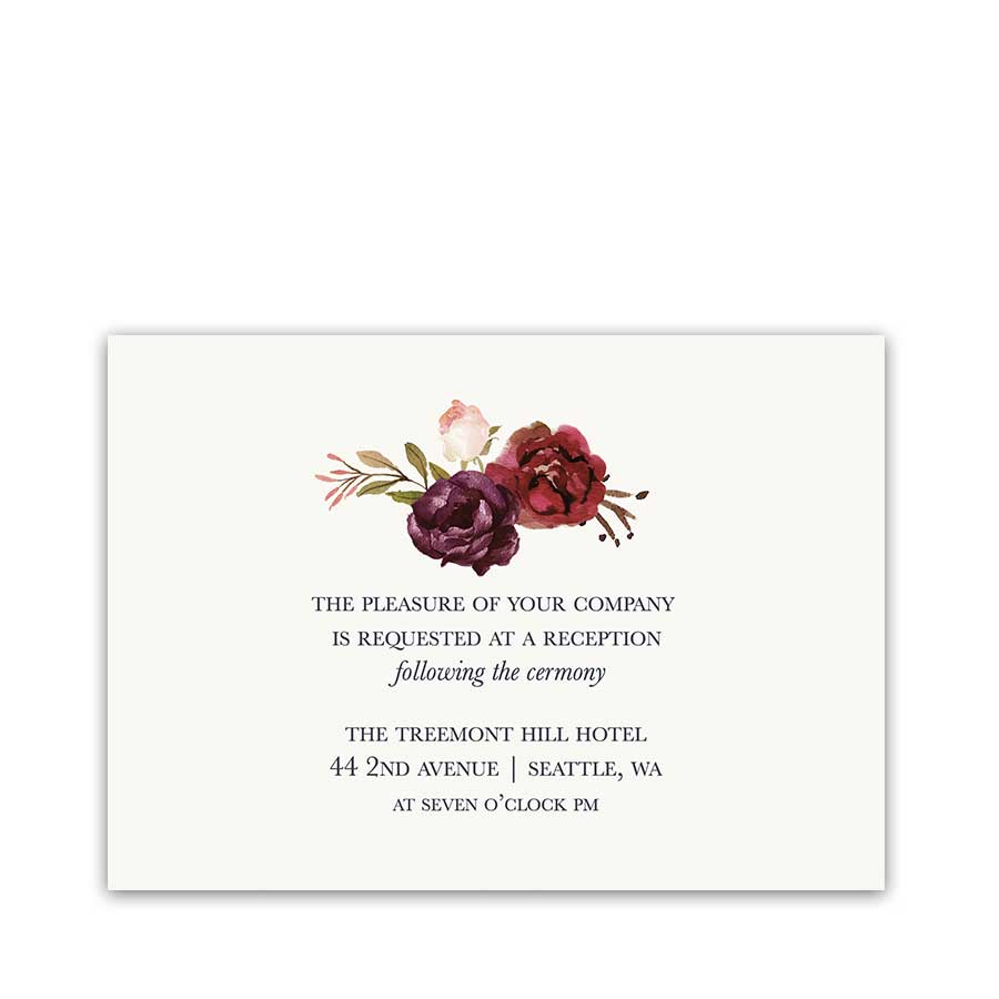 Watercolor Floral Wedding Reception Details Cards