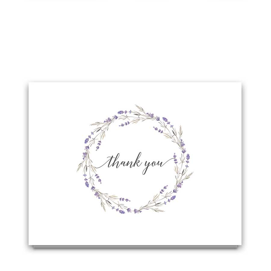 Wedding Thank You Cards Lavender Floral Wreath