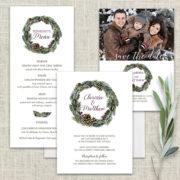 Winter Greenery Wedding Invitations Pine Cone Wreath